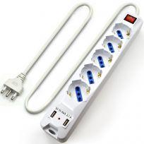 Multipresa 5 posti con 2 porte USB di ricarica